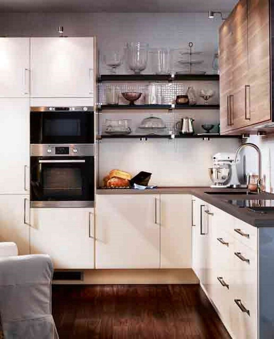 White Small L Shaped Kitchen Layout Combine Wall Mounted Stainlees Steel Single Electric Oven With Built In Microwave And Clic Hardwood Flooring Tasteful