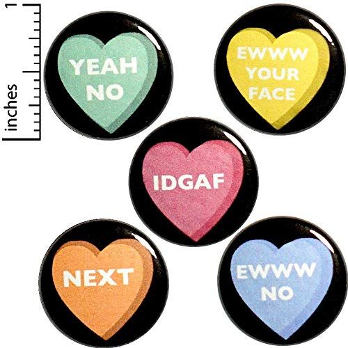 Funny VDay Button 5 Pack Pins Or Bitter Sarcastic