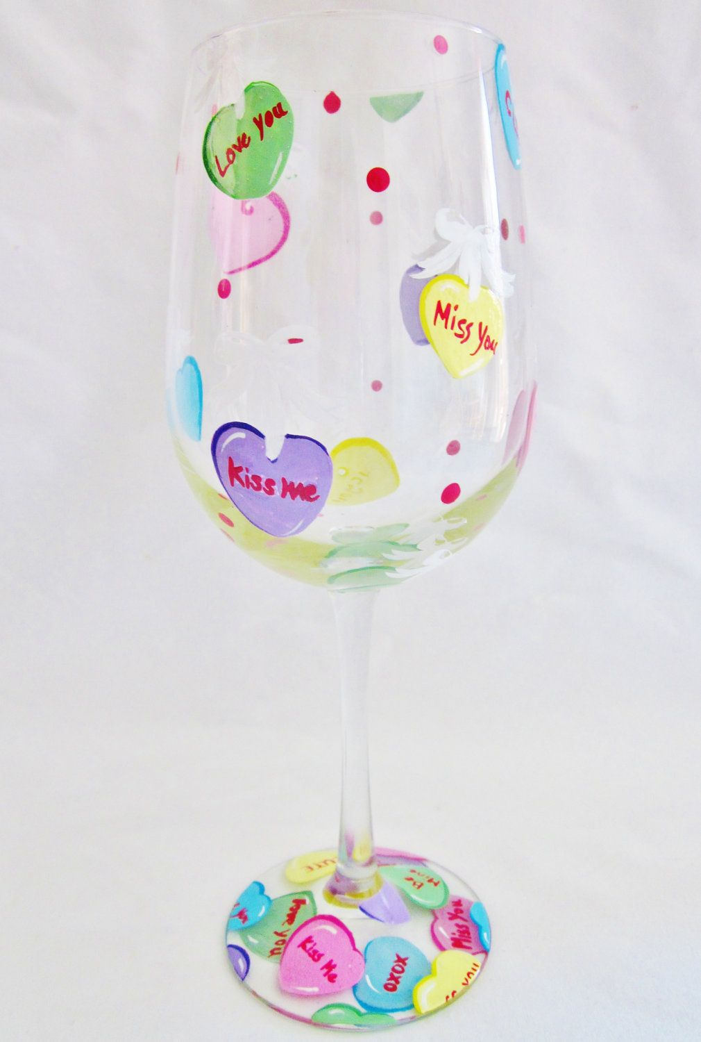 Painted Wine Glasses Ideas For Valentines Day Request A Custom