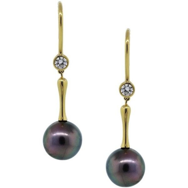 Pre-owned Tiffany & Co. Tahitian Pearl And Diamond Drop Dangle... ($4,995) ❤ liked on Polyvore featuring jewelry, earrings, pre owned jewelry, 18k gold earrings, pandora jewelry, diamond earrings and round diamond earrings