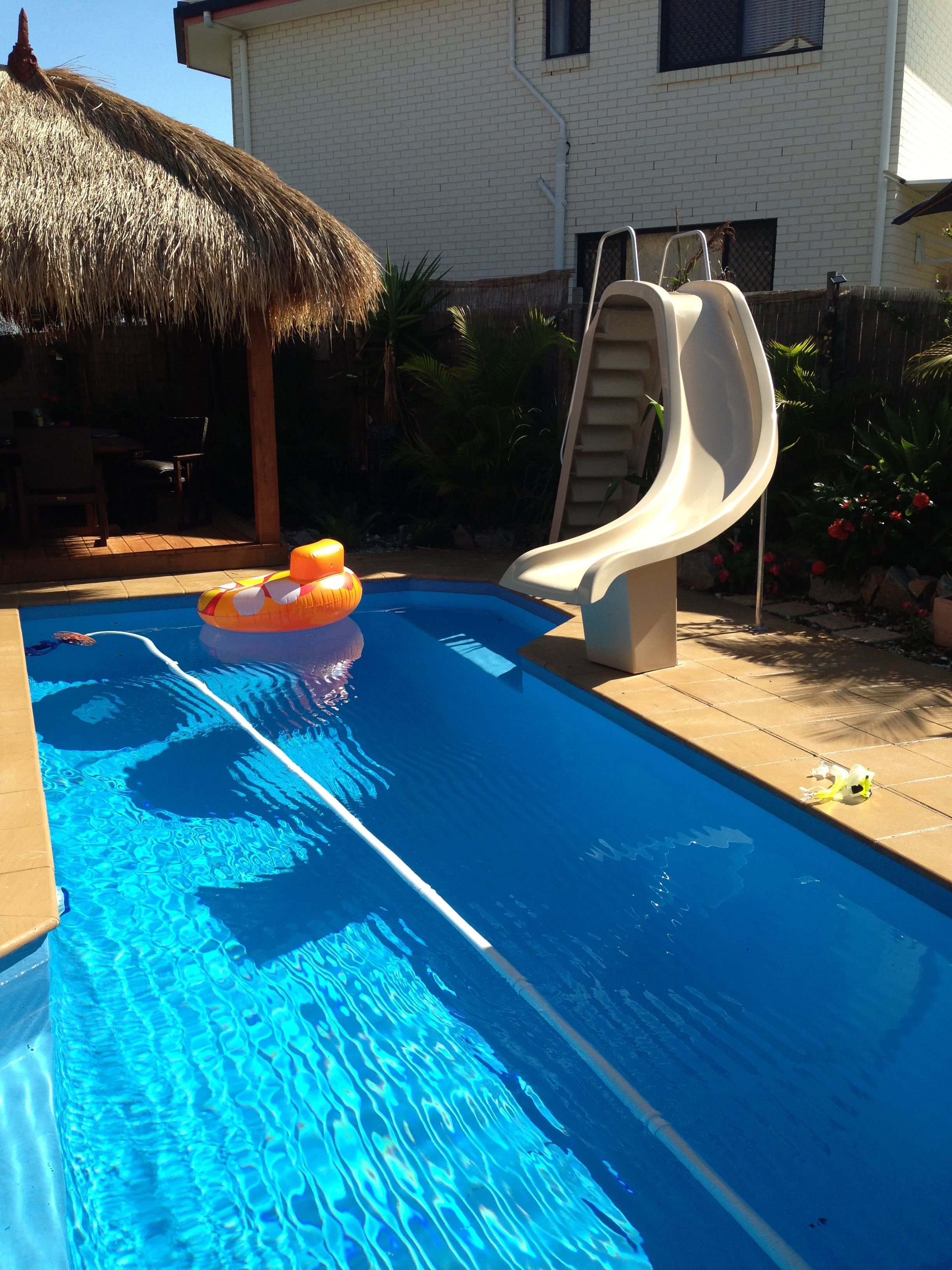 Fibreglass 4 Leisure Pool slide with nonslip steps and water jet ...
