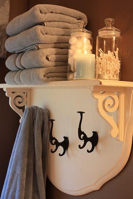 Twin headboard crafted into a fantastic unique bathroom shelf!