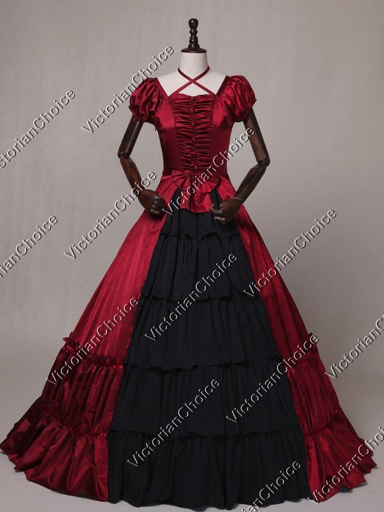 95162dd6ff55 Victorian Gothic Dark Queen Ruffle Dress Cosplay Theatre Reenactment  Vampire Clothing