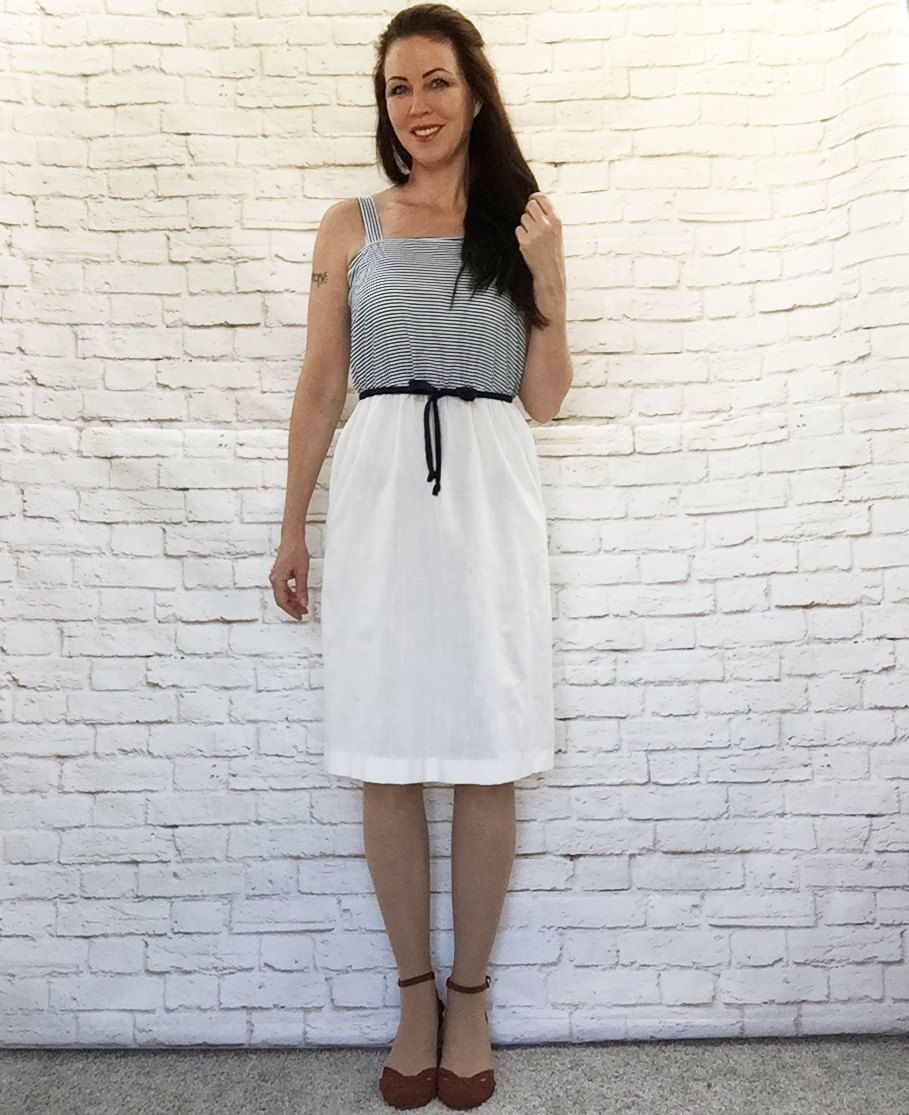 Vintage 80s Sailor Striped Sun Dress Navy White Belted Top-Attached Nautical Resort by PopFizzVintage on Etsy
