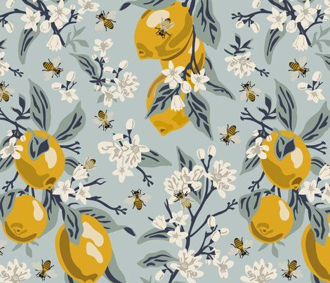 Wallpaper Bees And Lemons - Blue - Large | Bee fabric