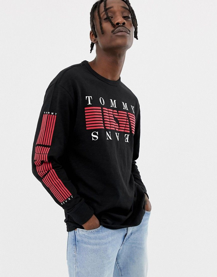 1934cca5 TOMMY JEANS STRIPE USA LOGO CHEST & SLEEVE PRINT LONG SLEEVE TOP IN BLACK -  BLACK. #tommyjeans #cloth