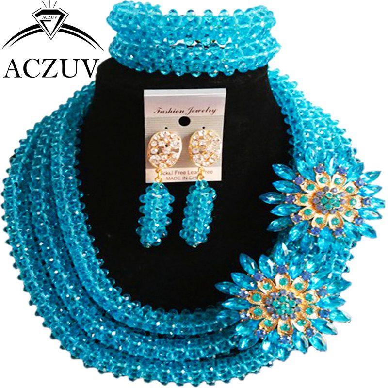Click to Buy << ACZUV Latest Lake Blue Crystal African Fashion ...