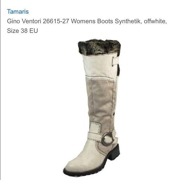 Gino Ventori Tamaris off white bike boot Size 38 distressed
