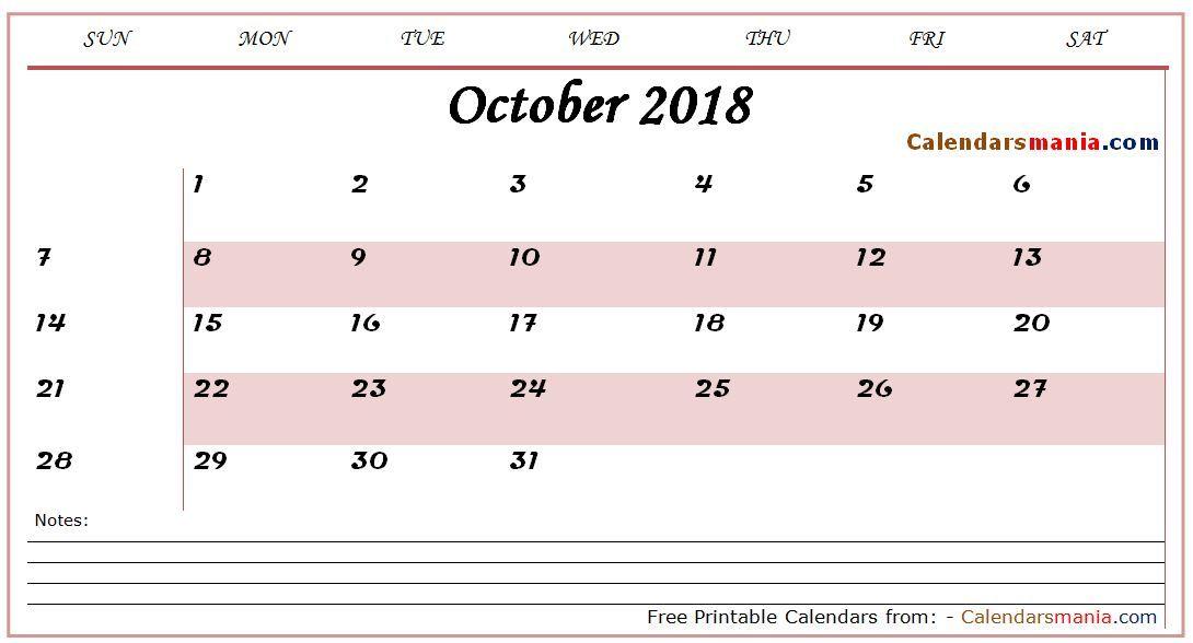 October 2018 Calendar Design October 2018 Calendar Pinterest