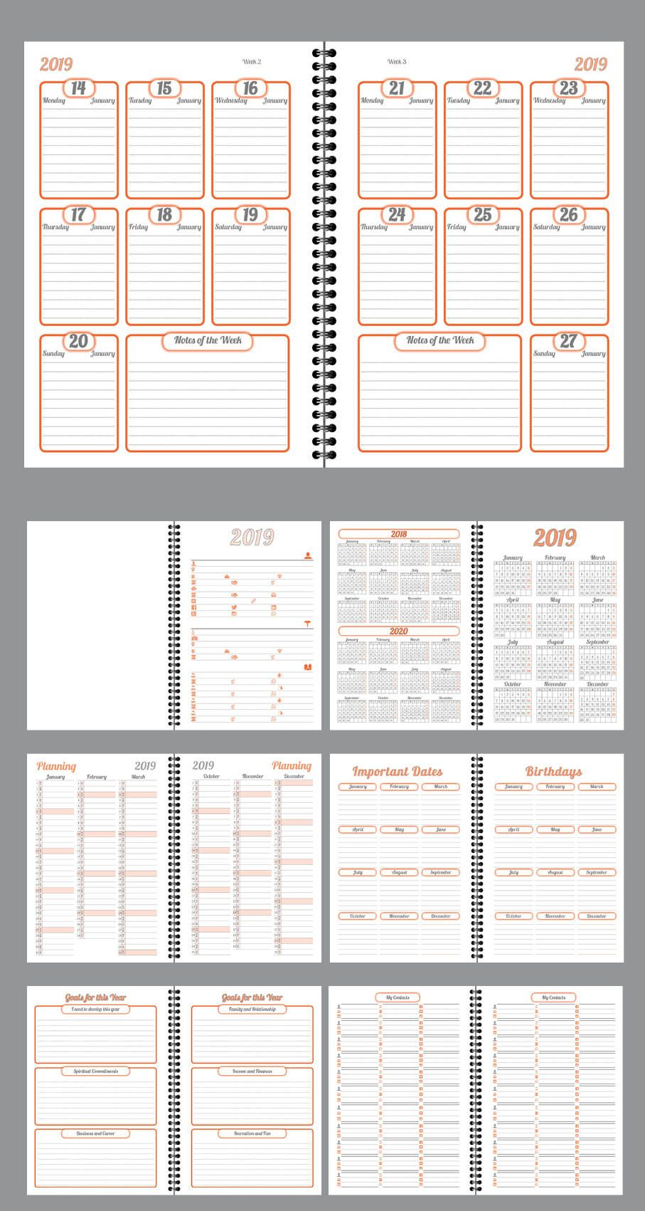 Daily Planner Agenda Indesign Template Fully Editable Model Atd76
