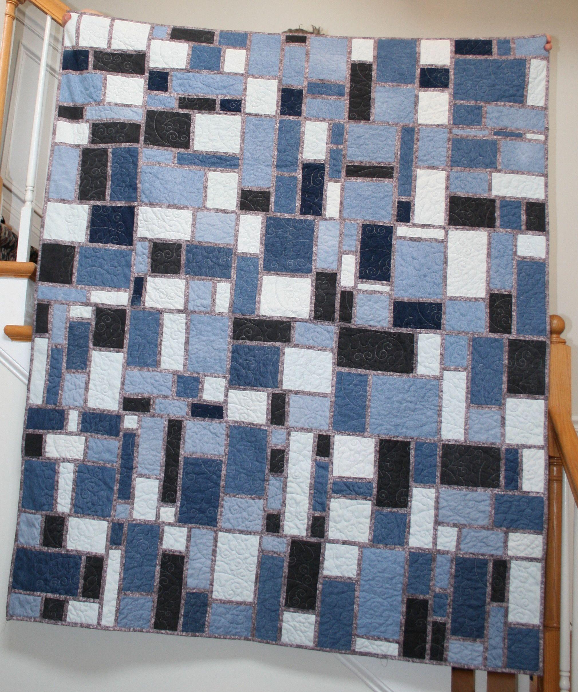 Seattle Streets Pattern Blue Jean Quilt Denim Crafts