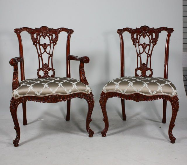 Set Of 8 Mahogany French Chippendale Traditional Dining Chairs ~ Ebay.com