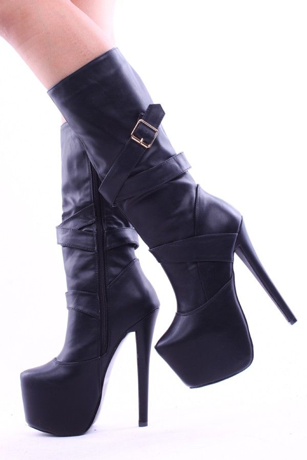 black faux leather knee high 6 inch platform heel boots