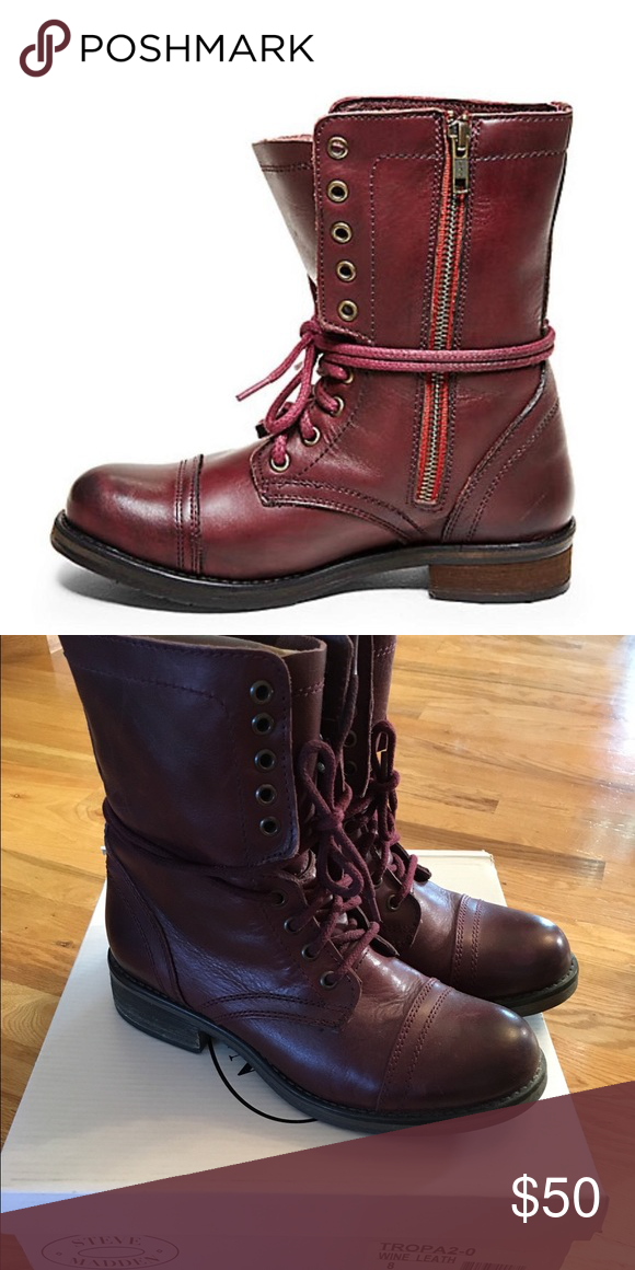 e6c235c5265 Steve Madden Troopa 2.0 Steve Madden size 8 Troopa 2.0 Wine colored combat  boots. Worn less than 5 times. Great condition.  50 Steve Madden Shoes  Combat ...