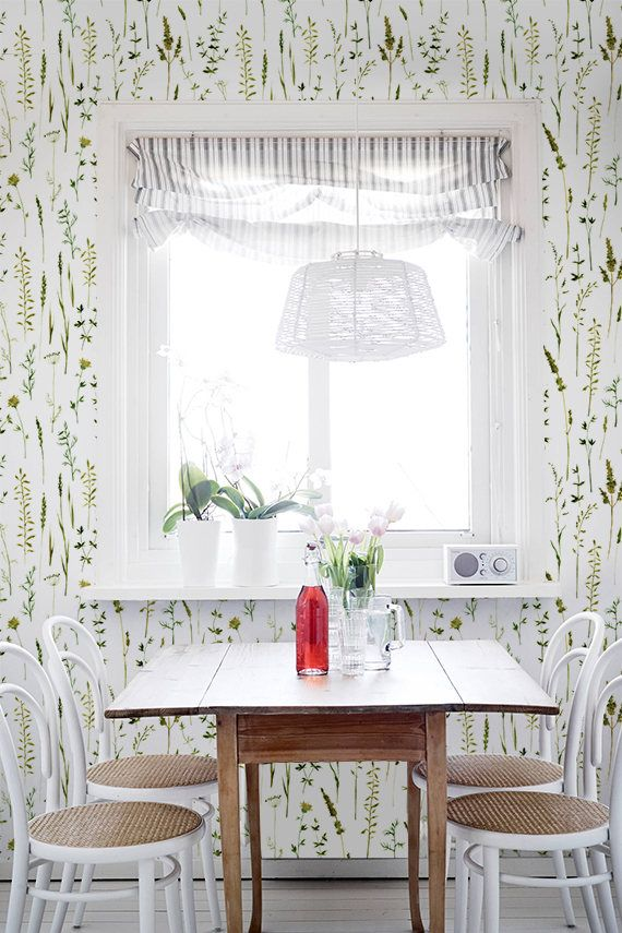 Wallpaper With Herbal Print Botanical Wall Sticker Herbal Etsy Home Decor Home Goods Decor Home