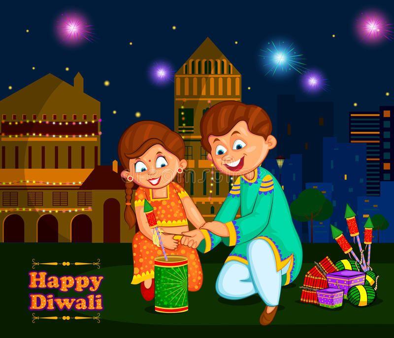 Kids Enjoying Firecracker Celebrating Diwali Festival Of India In Vector Ad Firecracker Celebrating Kids Diwali Festival Diwali Vintage Poster Art