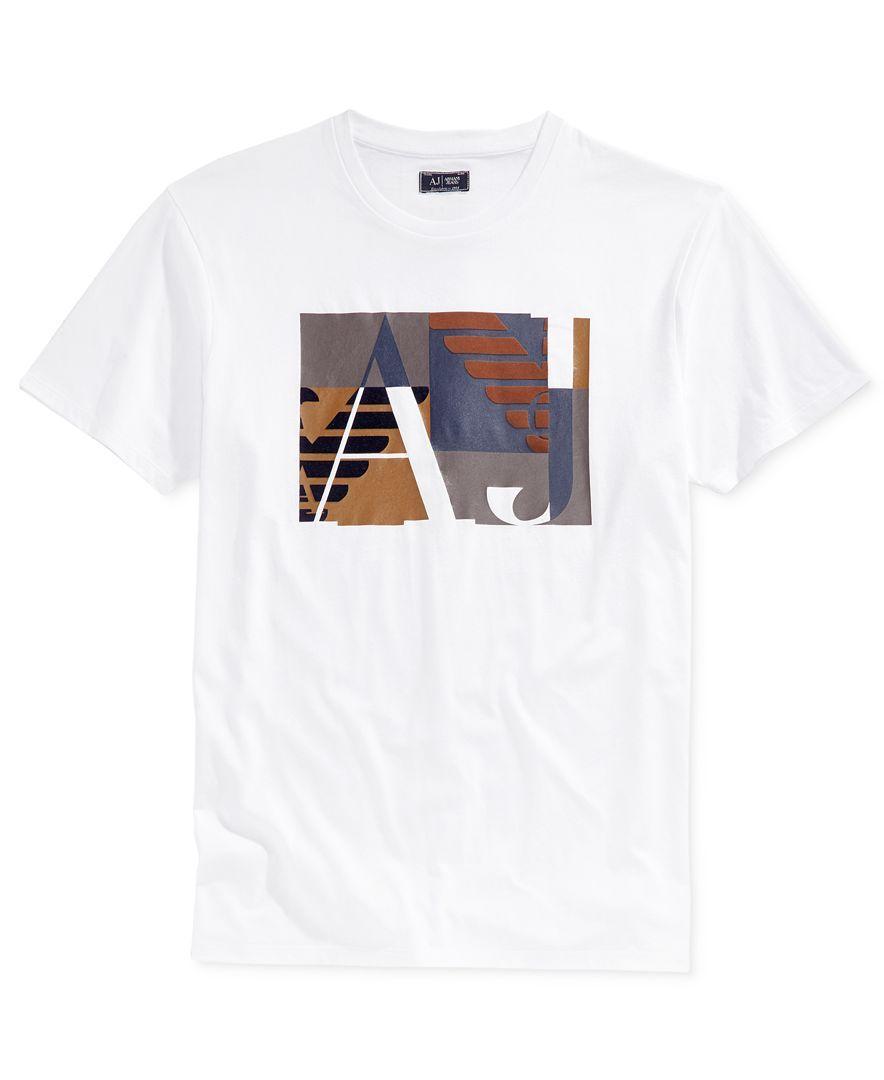 Armani Jeans Men's Aj Square Graphic-Print Logo T-Shirt