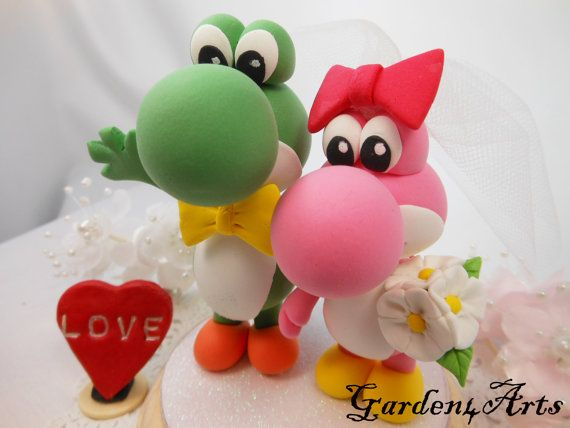 Love Dino Couple with circle clear base--Custom Wedding Cake Topper