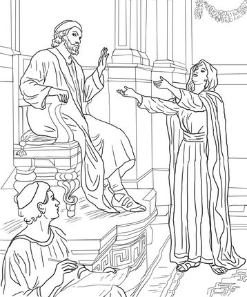 Parable Of The Persistent Widow Coloring Page From Jesus Parables