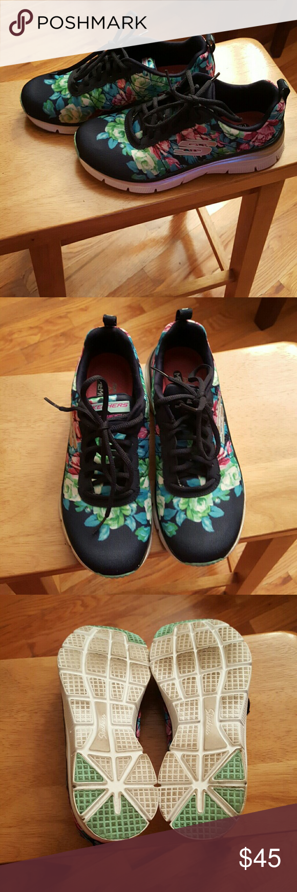 Memory foam skechers Floral memory foam skechers. These are so comfortable and make you feel like you are walking on air!!! Unfortunately I'm not a huge fan of the print as I got them as a gift. Sneakers have only been worn twice and have been sitting in my closet ever since. Skechers Shoes Sneakers