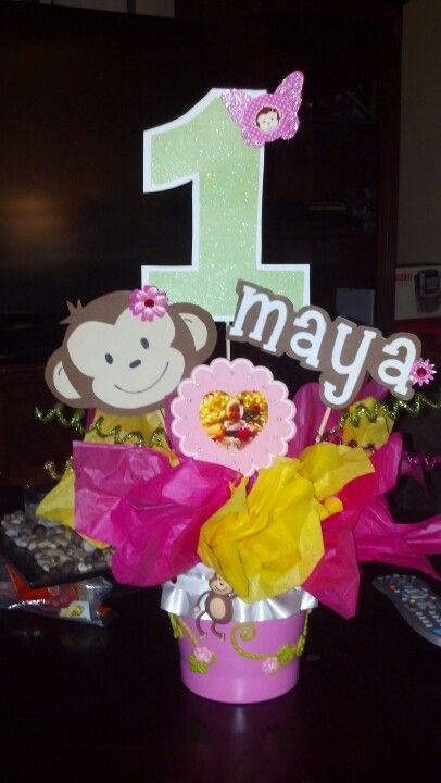 Mod monkey centerpiece pink and green party