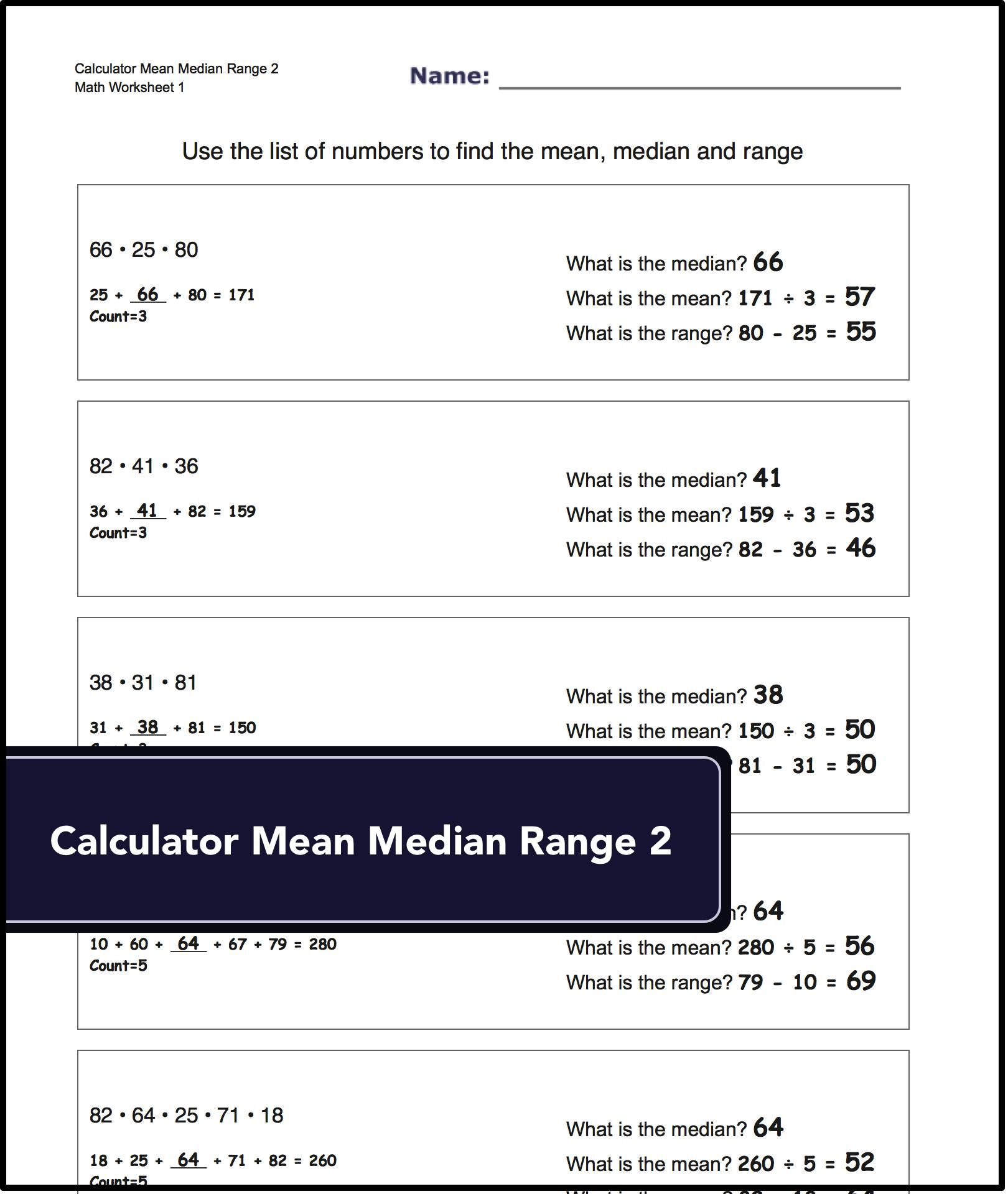 Harder Problems For Determining The Mean Median And Range