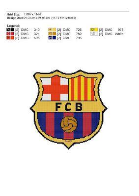 Gráfico del escudo del Barça... Relojes Punto De Cruz 730b21d1dc0