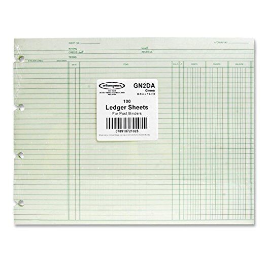Wilson Jones GN2DA Green End-Balance Ledger Form Paper, Both Sides - ledger form