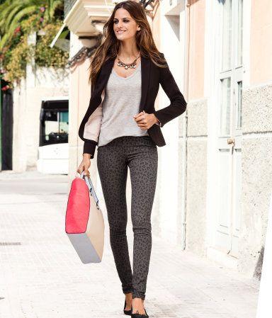 blazer shirt leopard pants H FI