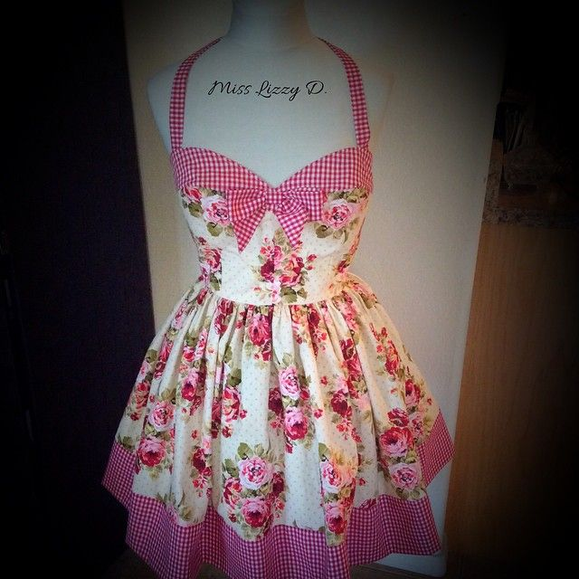 Cute little custom order! PinUp Garden Sun Dress Ready for a Picnic... Super full skirt, loving the red gingham with this floral. #misslizzyd #pinup #vlv18 #vlv #gardendress #floral #countrygirl #shabbychic #ginghamdress #CustomOrder #handmade #sweetheartdress #rockabilly
