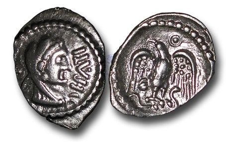 Ancient Coins - TP1 – British Celtic, The Eastern Dynasty (Trinovantian and Catuvellaunian Expansion into Atrebatic Territory), Epaticcus (1st half 1st century A.D.), Silver Unit