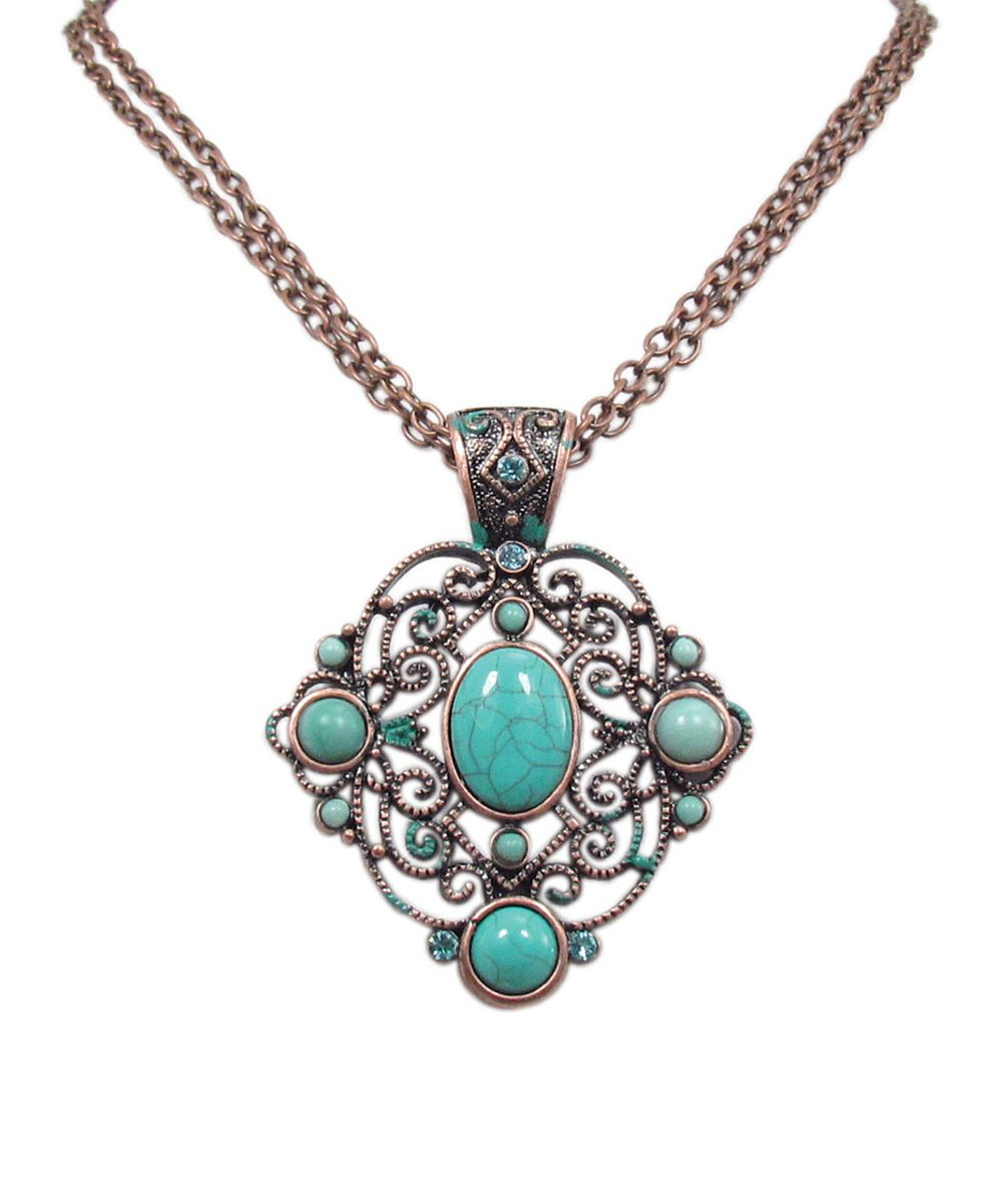 Turquoise & Gold Patina Filigree Pendant