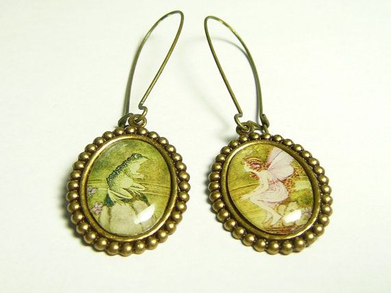 Fairy and Frog Earrings Vintage Style Jewelry Resin