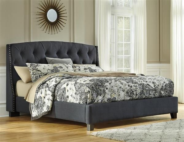 Best Kasidon Contemporary Dark Grey Upholstered Bed King 400 x 300