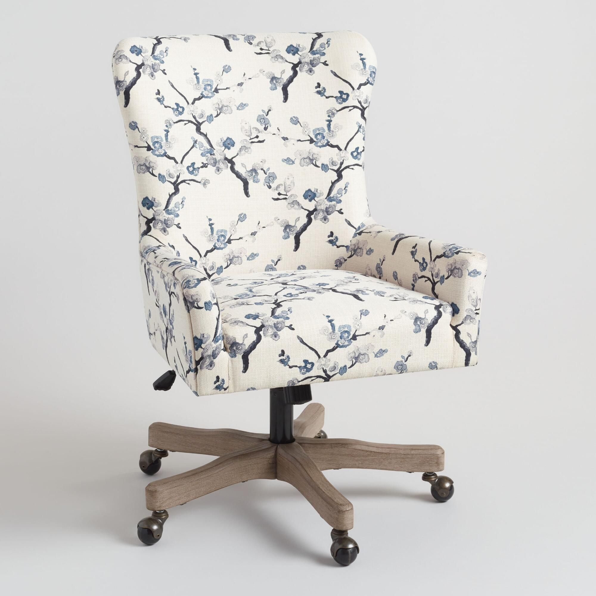 Ivory And Blue Blossom Trystan Upholstered Office Chair By World Market List Of The Best Office Chair Upholstered Office Chair Home Office Chairs Office Chair Upholstered desk chair with wheels