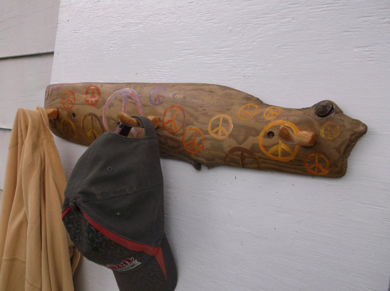 Peace Sign Bathroom Decor Driftwood Coat Hooks With Peace Signs  Bathroom Towel Hooks