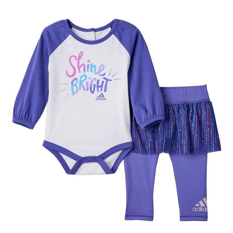 """Baby Girl Adidas """"Shine Bright"""" Raglan Bodysuit & Mesh Tutu Skirt with Leggings Set, Size:"""