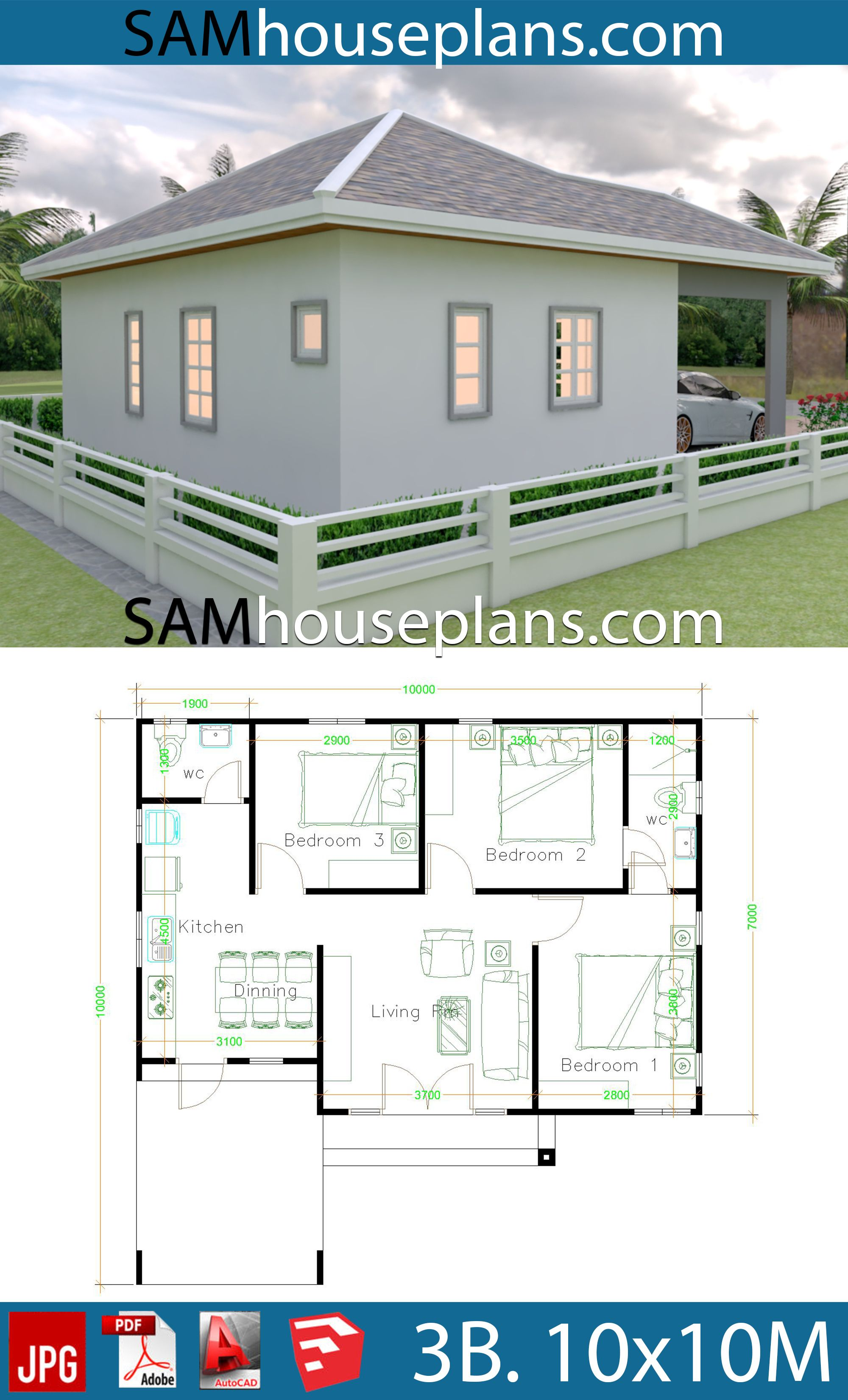 Framing A 10x10 Room: House Plans 10x10 With 3 Bedrooms (With Images)