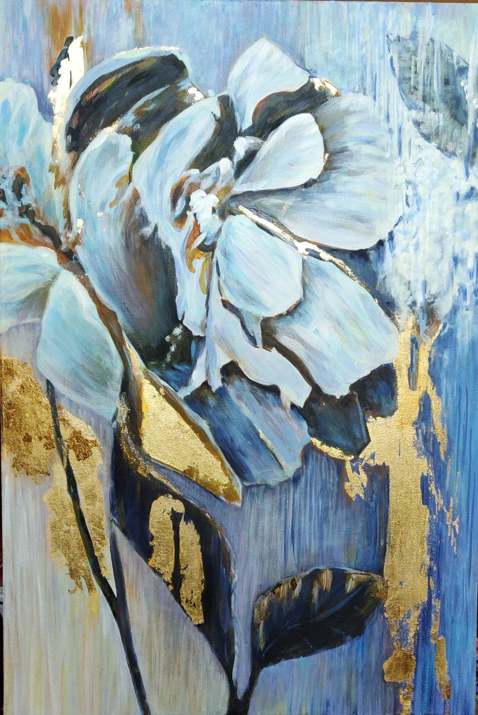 texture painting acrylic painting 3D art  wall decoration painting garden with flowers painting white flowers blue painting with gold