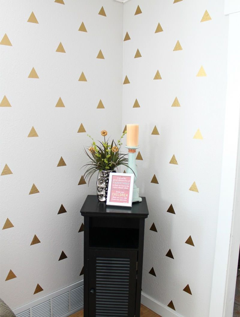 Want a fast way to make a huge visual impact on your walls our arquitetura e decorao triangle wallstencil diywall decal amipublicfo Gallery