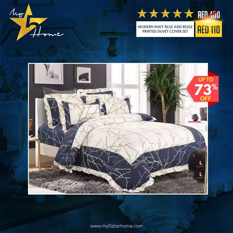 Modern Navy Blue And Beige Printed Duvet Cover Set Duvet Cover Sets Navy Duvet Covers Duvet Covers