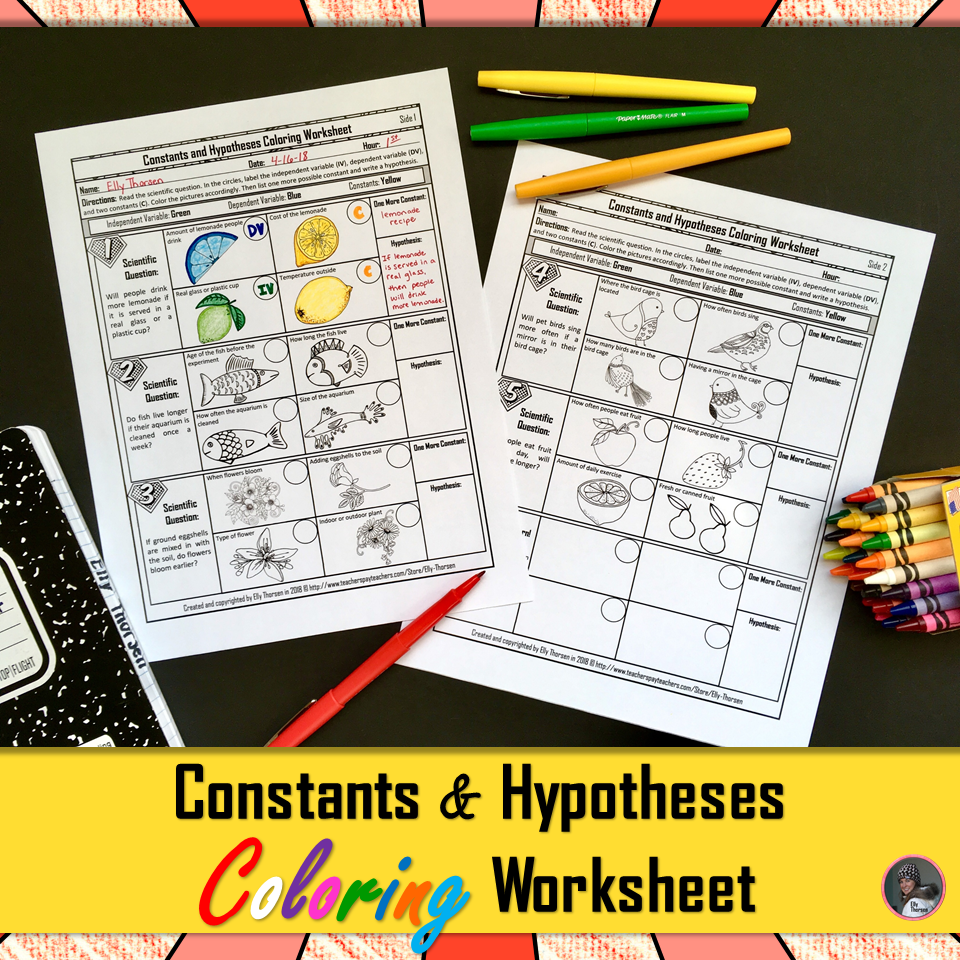Constants (Controlled Variables) and Hypotheses Worksheet with ...