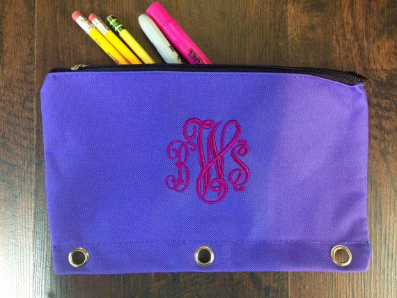 Back To School Monogram Pencil Cases 3 Ring Binder Pencil Pouch