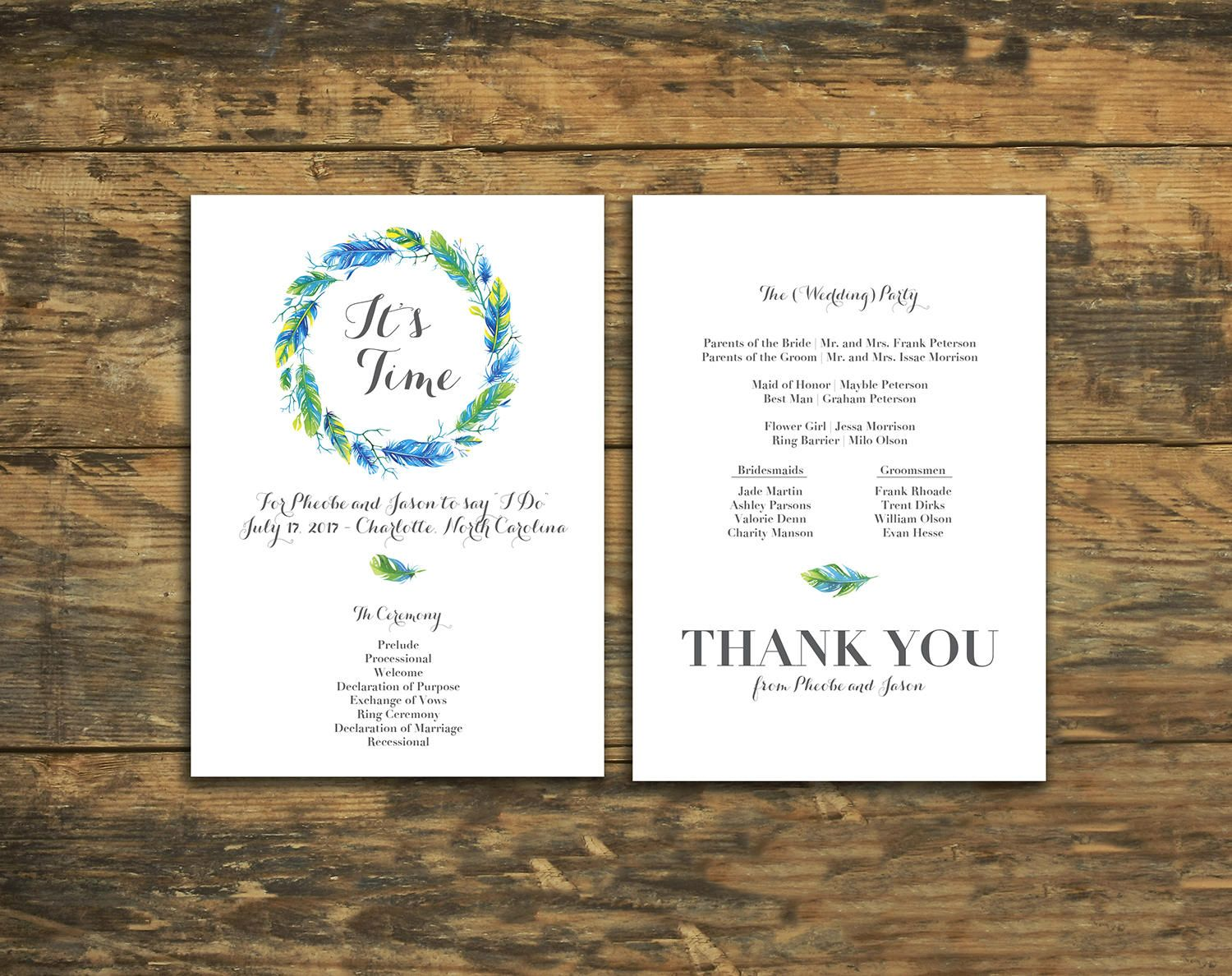 Bold Blue Feathers Design Flat Wedding Program Marriage Ceremony Programs By Ivoryisledesigns On Etsy