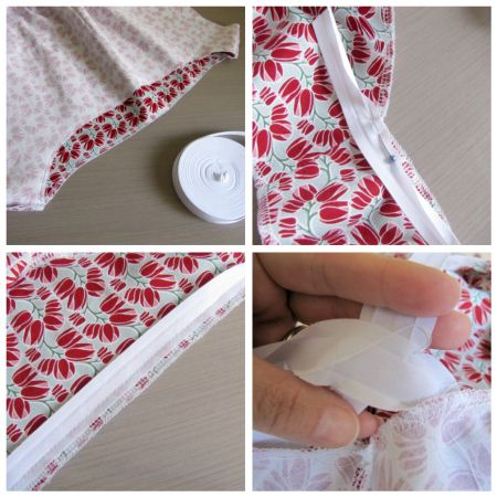 Create an elastic opening on a garment encased in single fold bias tape. This came in handy when my pattern's instructions weren't too clear.Super quick and easy.
