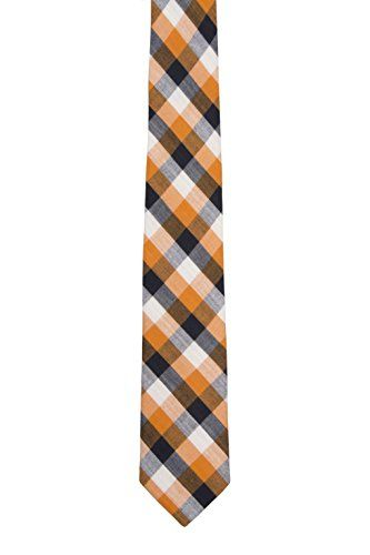 Cotton Necktie - Checkered pattern in orange, black and white - Notch GAETANO Notch