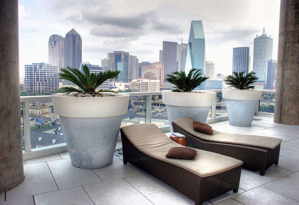 Dallas Texas Skyline W Hotel Chaise Lounges Pool Deck