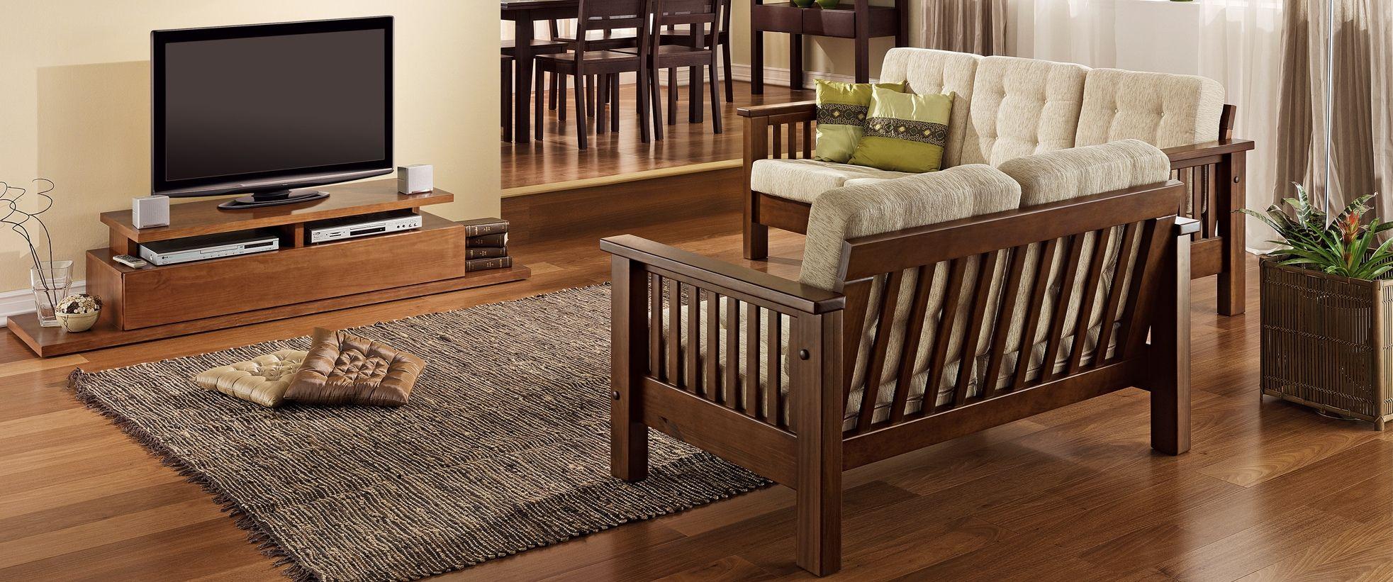 sofá de madeira com almofadas soltas - Pesquisa Google