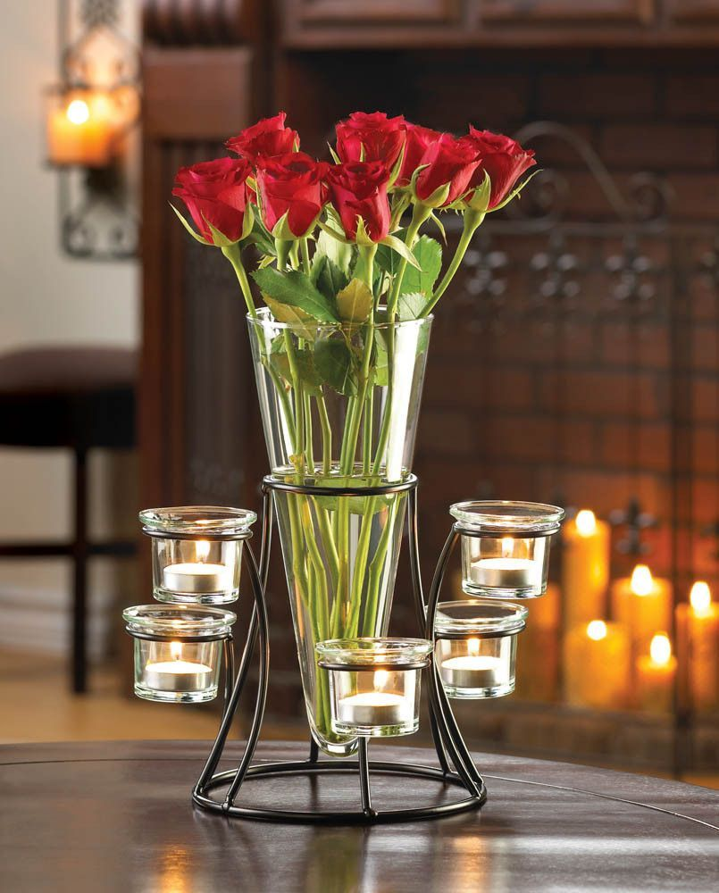 Beautiful Circular Candle Stand Centerpiece Vase Art Glass Glass