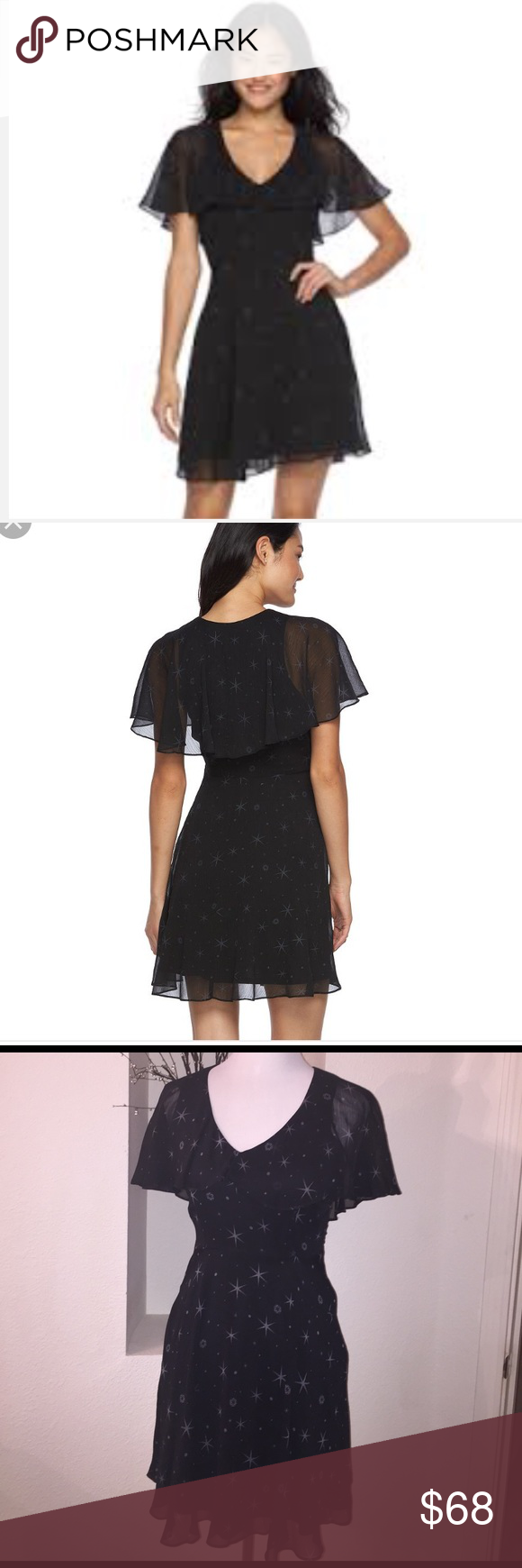 Star Wars Rogue One Dress Inspired by Rogue One: A Star Wars Story. Printed Dress features a v-neck, short flutter sleeves, a side zipper, and an allover graphic print than includes stars and the Imperial symbol. Star Wars Dresses